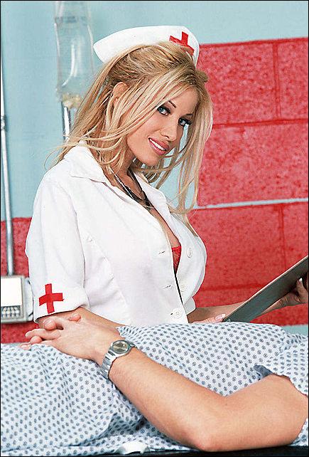 Peach pee blonde nurse photo series
