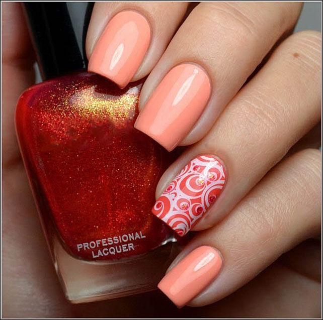 Фото ногти персикова цвета