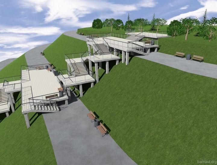 Сочетание лестниц с террасами для отдыха на сваях и пологими дорожками на крутом парковом склоне