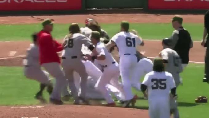 Массовая драка произошла набейсбольном матче вСША