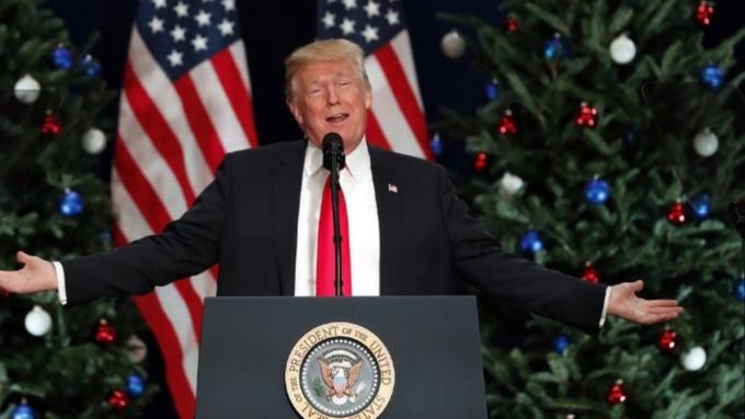 Дональд Трамп впервый раз зажег огни нарождественской елке перед Белым домом