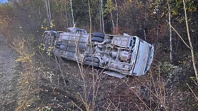 13 человек пострадали при опрокидывании автобуса на российской трассе