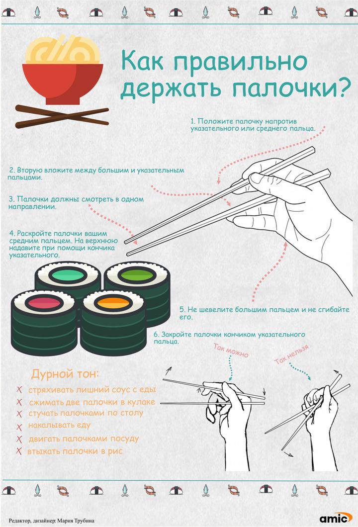 Как держать палочки суши