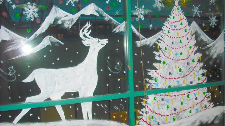 разрисовать окна к новому году фото