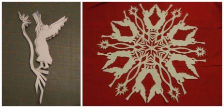 Вырезание снежинок из бумаги